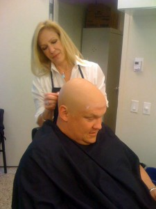 Andy Richter Getting Bald Cap Applied