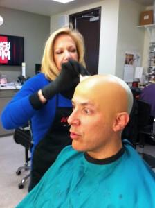 Deborah Applying and Coloring Bald Cap
